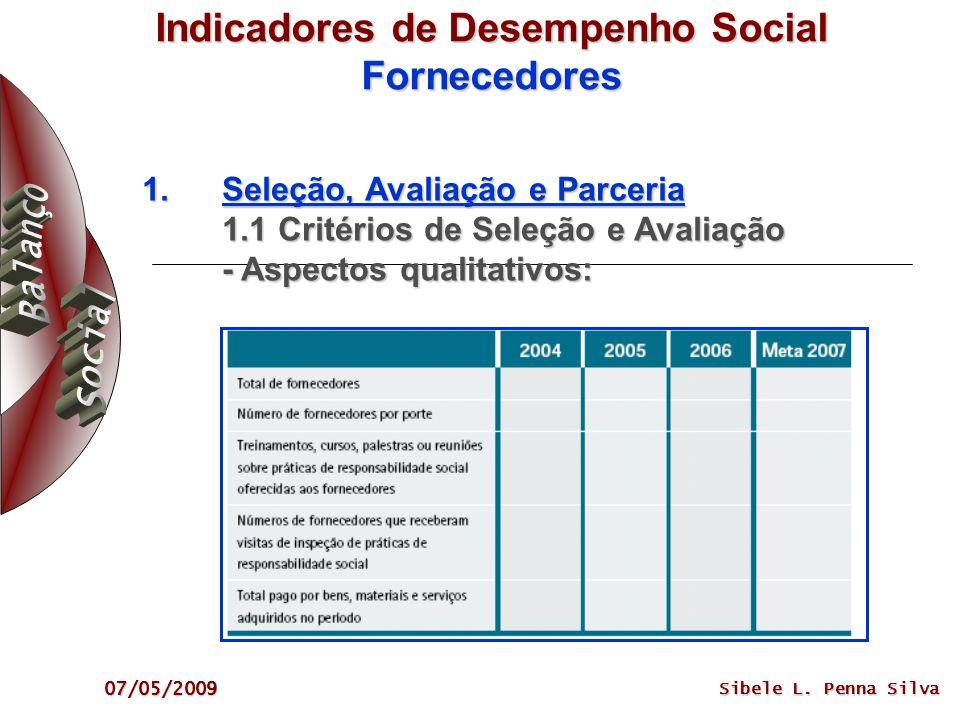 07/05/2009 Sibele L. Penna Silva Indicadores de Desempenho Social Fornecedores 1.Seleção, Avaliação e Parceria 1.1 Critérios de Seleção e Avaliação -