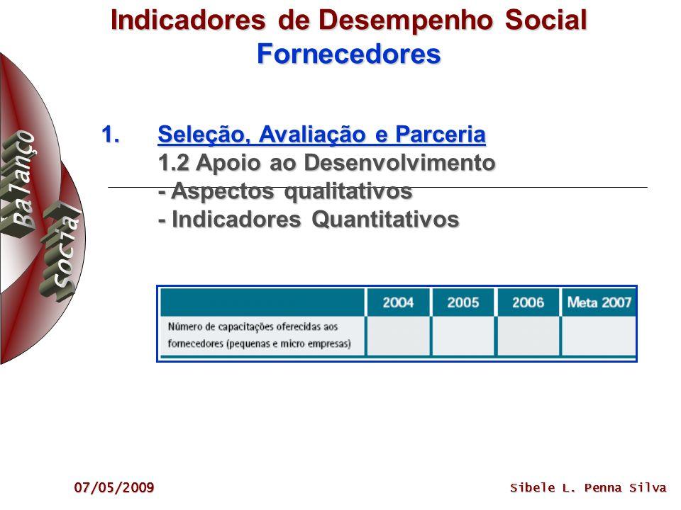 07/05/2009 Sibele L. Penna Silva Indicadores de Desempenho Social Fornecedores 1.Seleção, Avaliação e Parceria 1.2 Apoio ao Desenvolvimento - Aspectos
