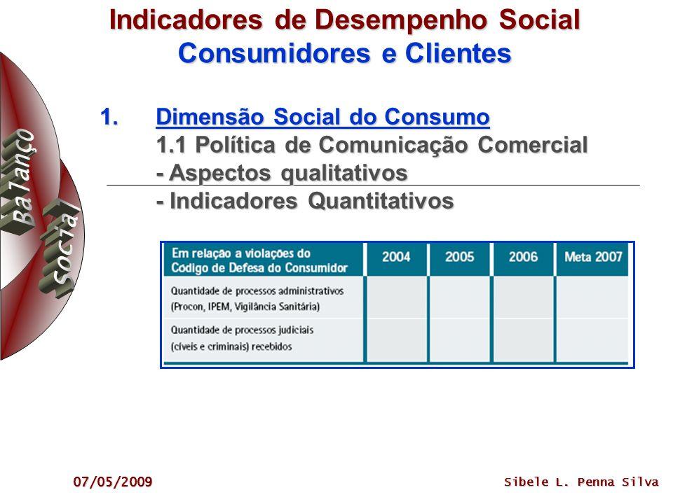 07/05/2009 Sibele L. Penna Silva Indicadores de Desempenho Social Consumidores e Clientes 1.Dimensão Social do Consumo 1.1 Política de Comunicação Com