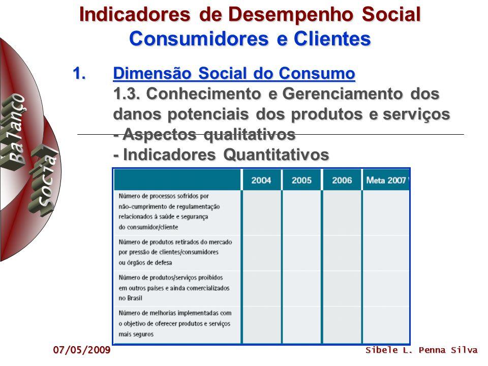 07/05/2009 Sibele L. Penna Silva Indicadores de Desempenho Social Consumidores e Clientes 1.Dimensão Social do Consumo 1.3. Conhecimento e Gerenciamen