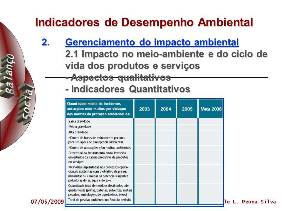 07/05/2009 Sibele L. Penna Silva Indicadores de Desempenho Ambiental 2.Gerenciamento do impacto ambiental 2.1 Impacto no meio-ambiente e do ciclo de v