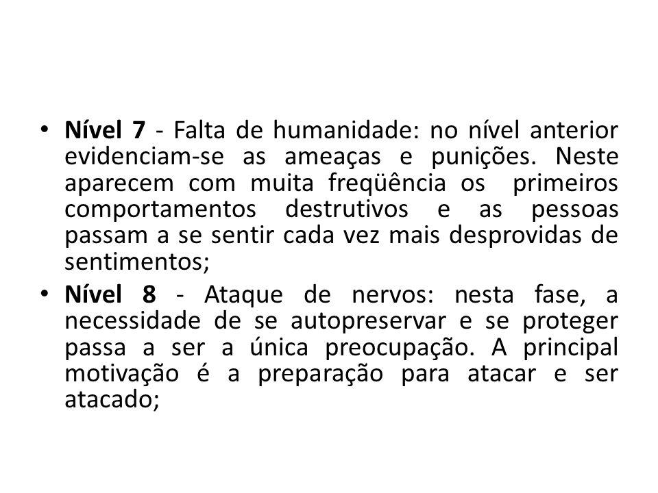 Nível 7 - Falta de humanidade: no nível anterior evidenciam-se as ameaças e punições. Neste aparecem com muita freqüência os primeiros comportamentos