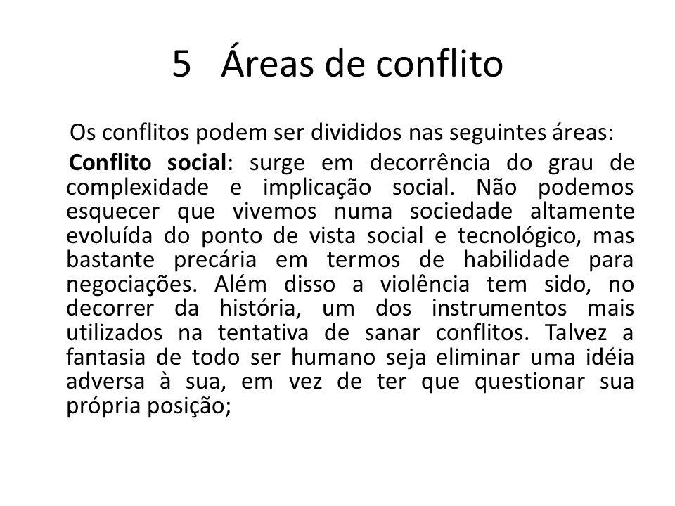 5 Áreas de conflito Os conflitos podem ser divididos nas seguintes áreas: Conflito social: surge em decorrência do grau de complexidade e implicação s
