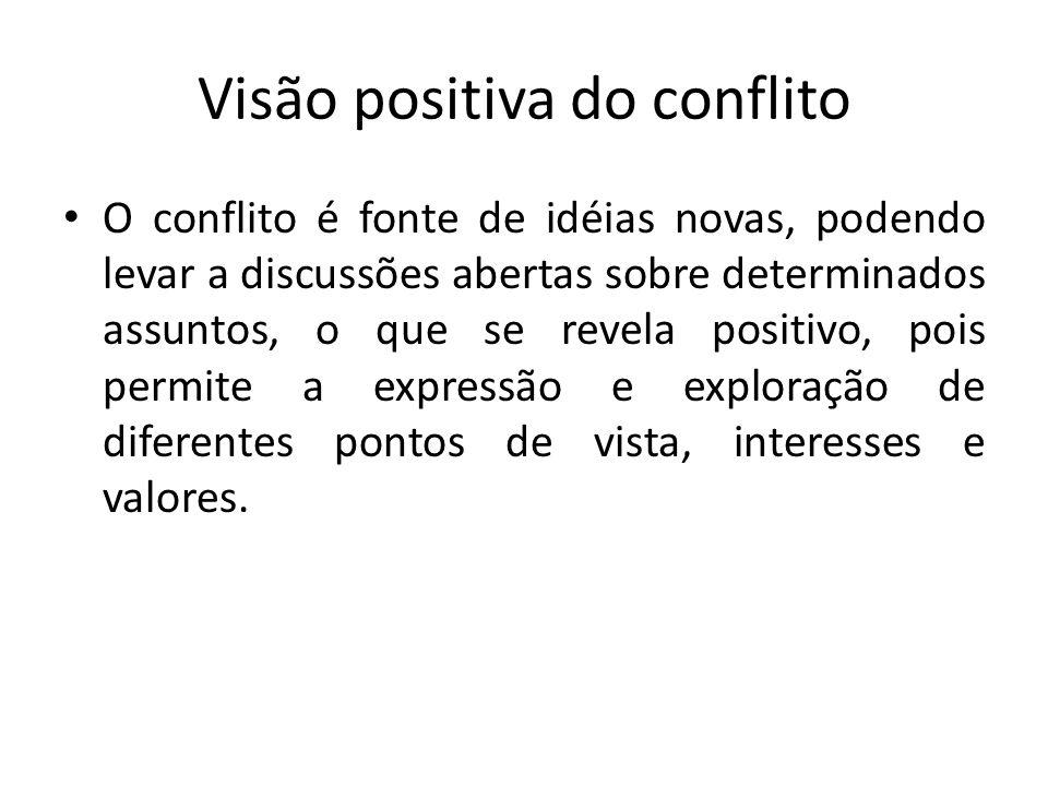 Visão positiva do conflito O conflito é fonte de idéias novas, podendo levar a discussões abertas sobre determinados assuntos, o que se revela positiv