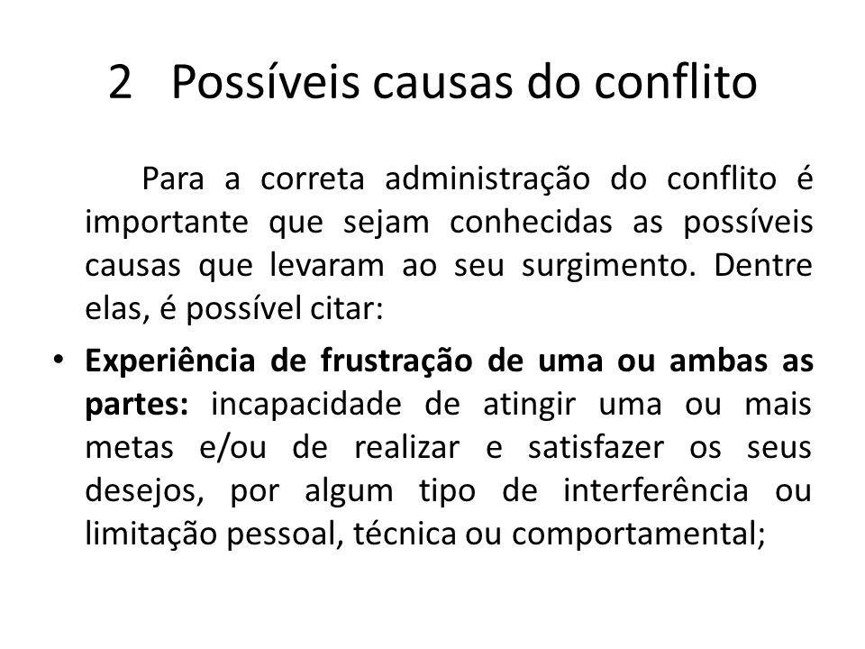 2 Possíveis causas do conflito Para a correta administração do conflito é importante que sejam conhecidas as possíveis causas que levaram ao seu surgi