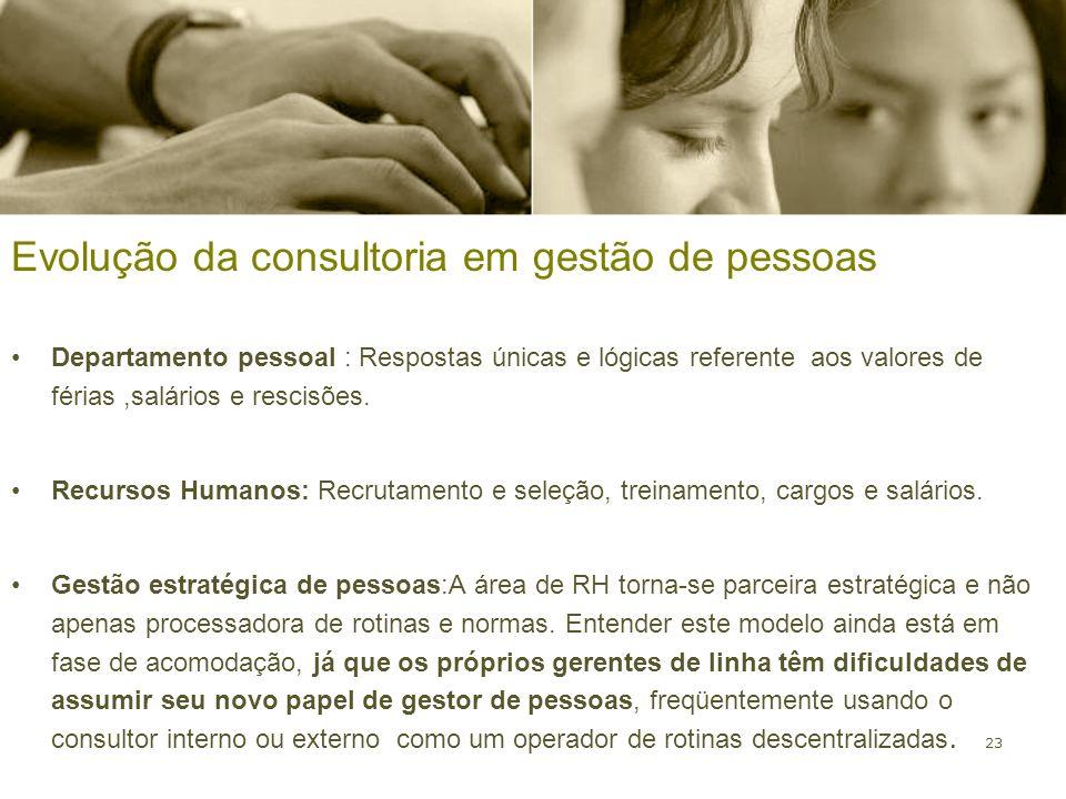 23 Evolução da consultoria em gestão de pessoas Departamento pessoal : Respostas únicas e lógicas referente aos valores de férias,salários e rescisões