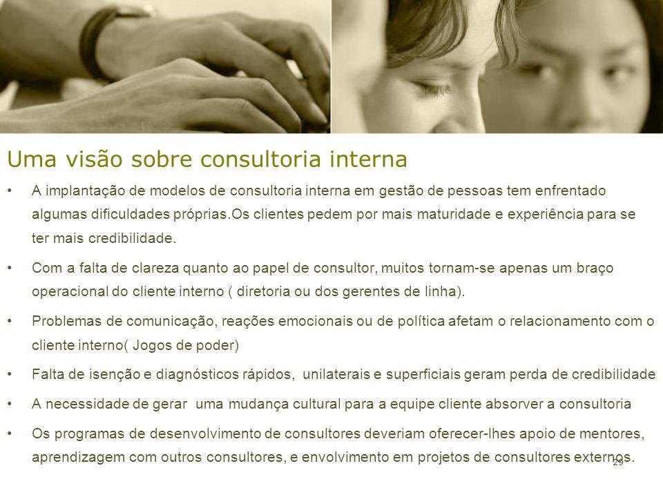29 Uma visão sobre consultoria interna A implantação de modelos de consultoria interna em gestão de pessoas tem enfrentado algumas dificuldades própri