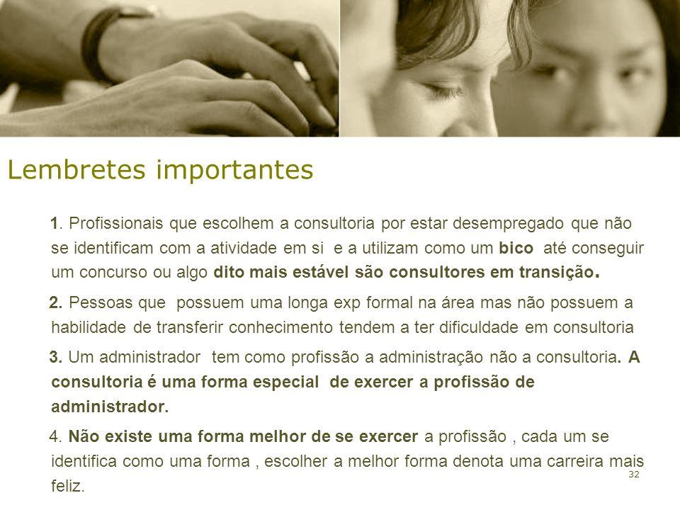 32 1. Profissionais que escolhem a consultoria por estar desempregado que não se identificam com a atividade em si e a utilizam como um bico até conse
