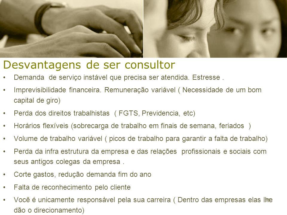 35 Desvantagens de ser consultor Demanda de serviço instável que precisa ser atendida. Estresse. Imprevisibilidade financeira. Remuneração variável (