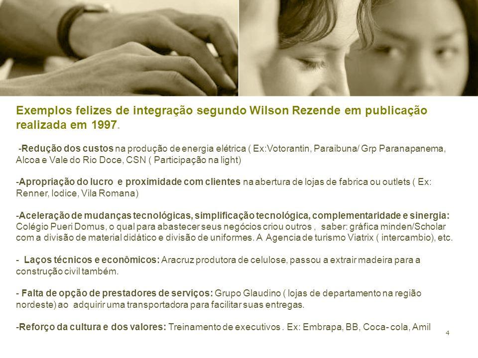 4. Exemplos felizes de integração segundo Wilson Rezende em publicação realizada em 1997. -Redução dos custos na produção de energia elétrica ( Ex:Vot