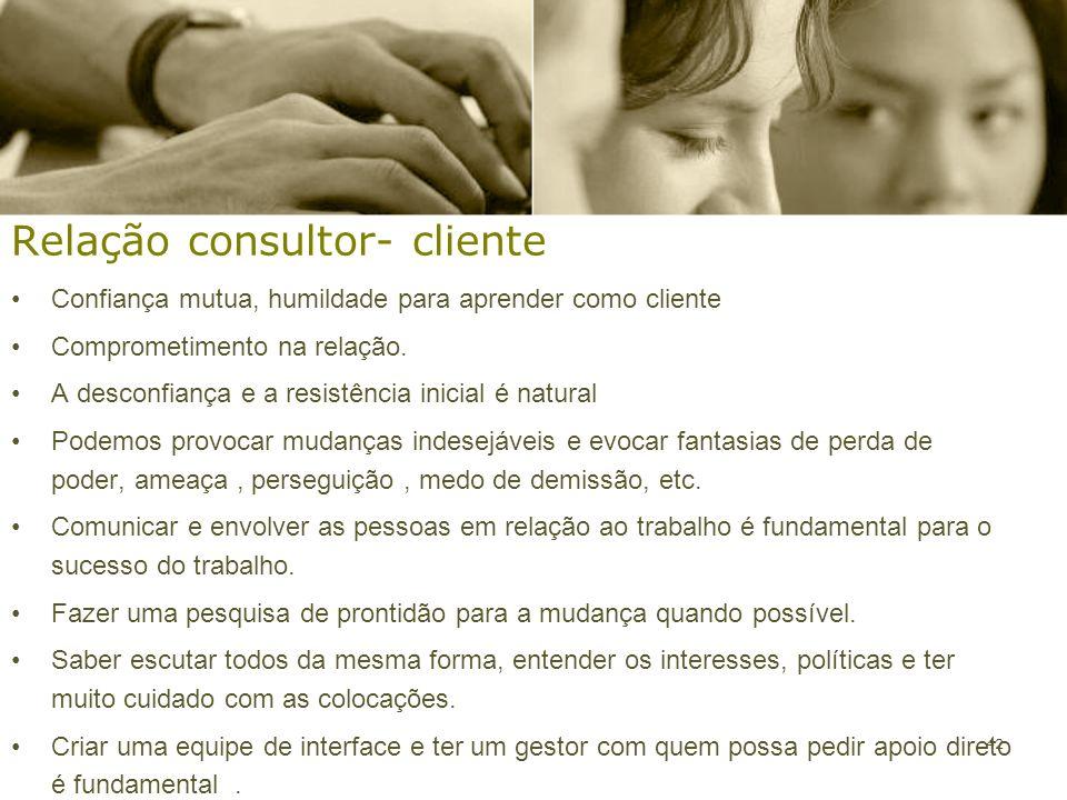 42 Relação consultor- cliente Confiança mutua, humildade para aprender como cliente Comprometimento na relação. A desconfiança e a resistência inicial