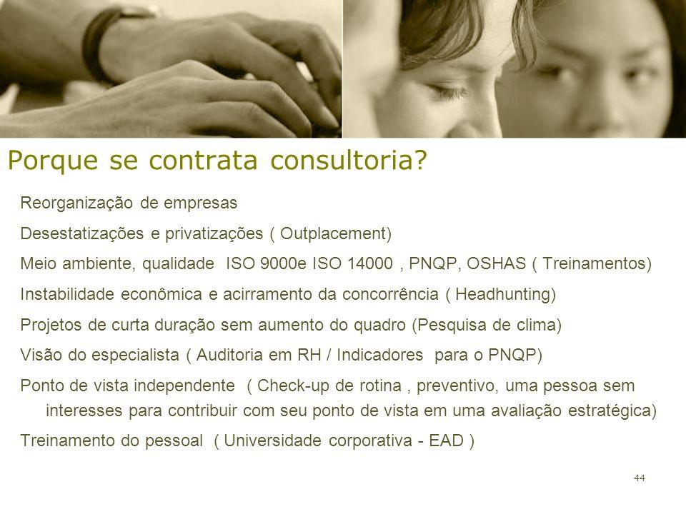 44 Porque se contrata consultoria? Reorganização de empresas Desestatizações e privatizações ( Outplacement) Meio ambiente, qualidade ISO 9000e ISO 14