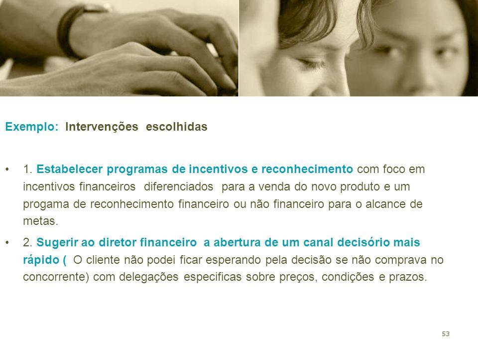 53 Exemplo: Intervenções escolhidas 1. Estabelecer programas de incentivos e reconhecimento com foco em incentivos financeiros diferenciados para a ve