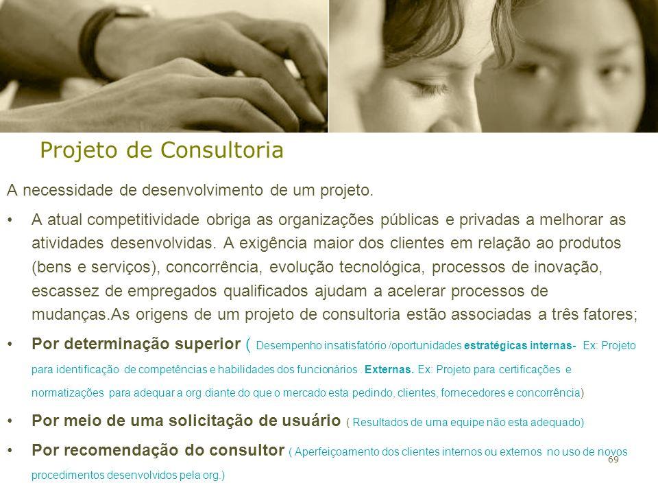 69 Projeto de Consultoria A necessidade de desenvolvimento de um projeto. A atual competitividade obriga as organizações públicas e privadas a melhora