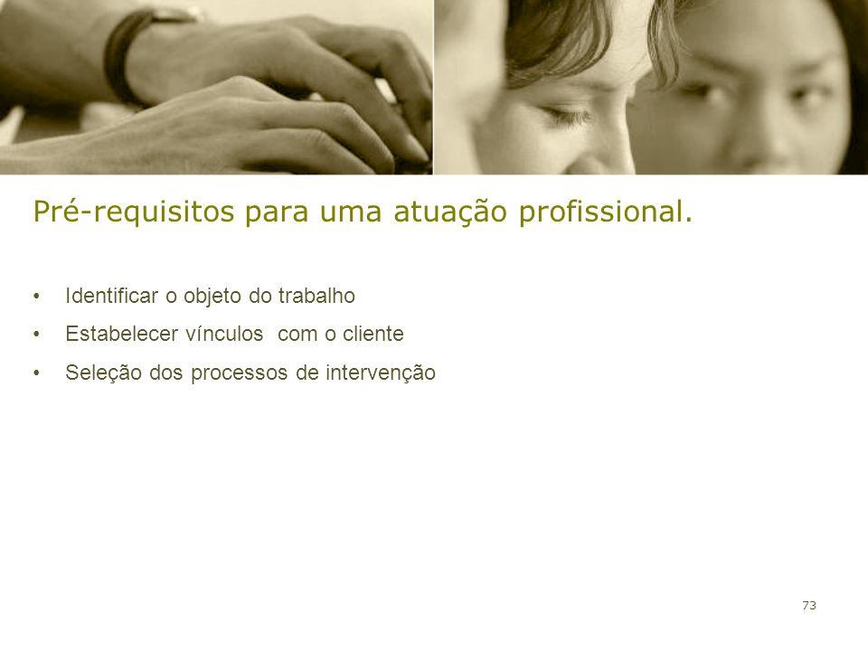 73 Pré-requisitos para uma atuação profissional. Identificar o objeto do trabalho Estabelecer vínculos com o cliente Seleção dos processos de interven