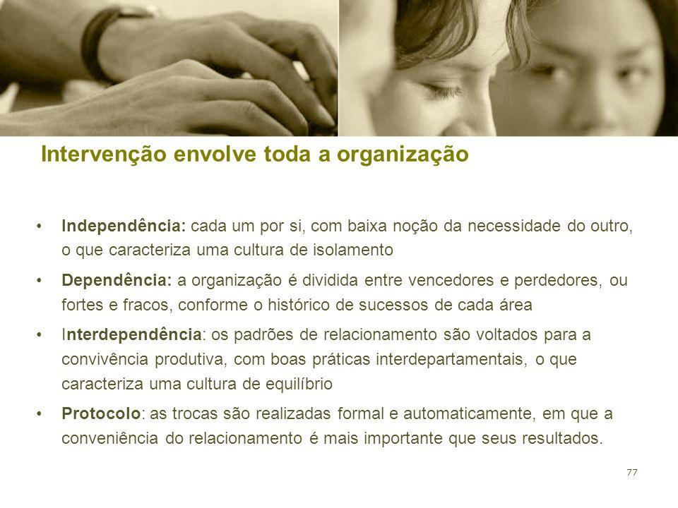 77 Intervenção envolve toda a organização Independência: cada um por si, com baixa noção da necessidade do outro, o que caracteriza uma cultura de iso