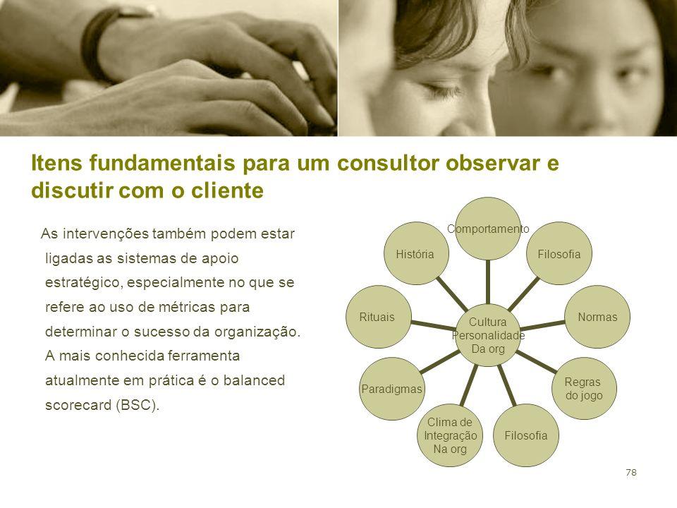 78 Itens fundamentais para um consultor observar e discutir com o cliente As intervenções também podem estar ligadas as sistemas de apoio estratégico,