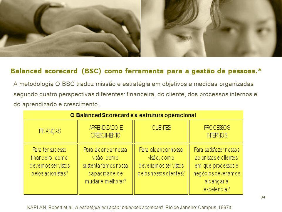 84 Balanced scorecard (BSC) como ferramenta para a gestão de pessoas.* A metodologia O BSC traduz missão e estratégia em objetivos e medidas organizad
