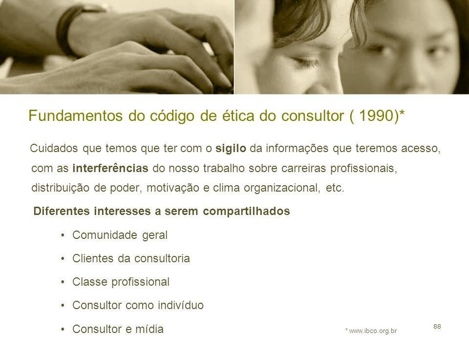 88 Fundamentos do código de ética do consultor ( 1990)* Cuidados que temos que ter com o sigilo da informações que teremos acesso, com as interferênci