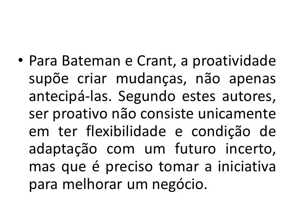 Para Bateman e Crant, a proatividade supõe criar mudanças, não apenas antecipá-las. Segundo estes autores, ser proativo não consiste unicamente em ter