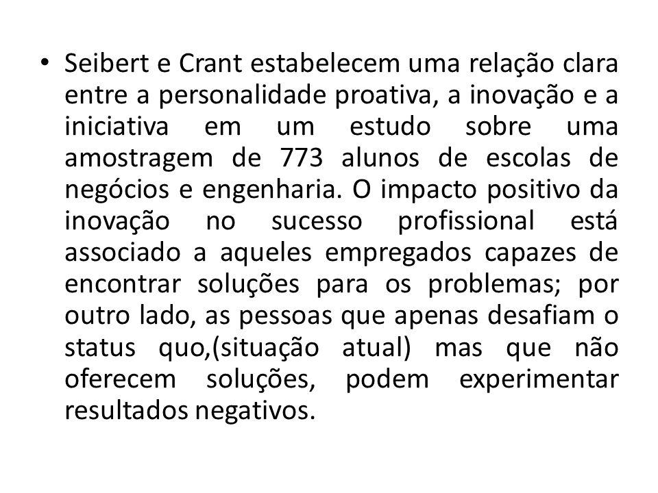 Seibert e Crant estabelecem uma relação clara entre a personalidade proativa, a inovação e a iniciativa em um estudo sobre uma amostragem de 773 aluno