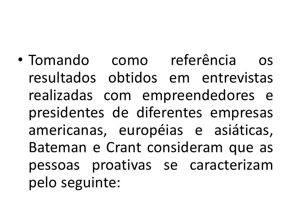 Tomando como referência os resultados obtidos em entrevistas realizadas com empreendedores e presidentes de diferentes empresas americanas, européias