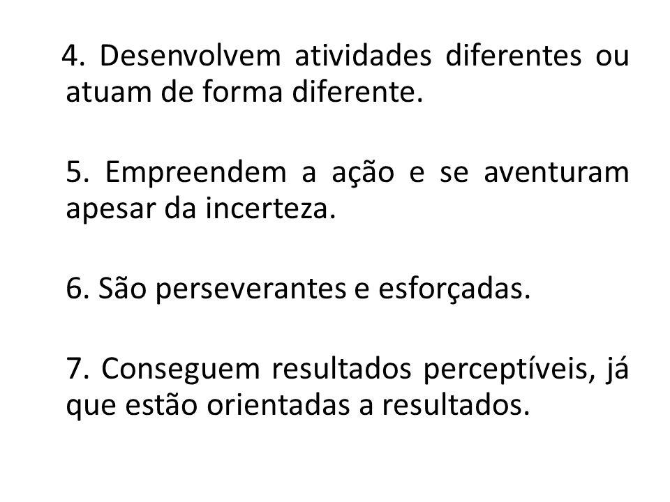 4. Desenvolvem atividades diferentes ou atuam de forma diferente. 5. Empreendem a ação e se aventuram apesar da incerteza. 6. São perseverantes e esfo