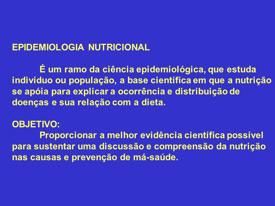 EPIDEMIOLOGIA NUTRICIONAL É um ramo da ciência epidemiológica, que estuda indivíduo ou população, a base científica em que a nutrição se apóia para ex