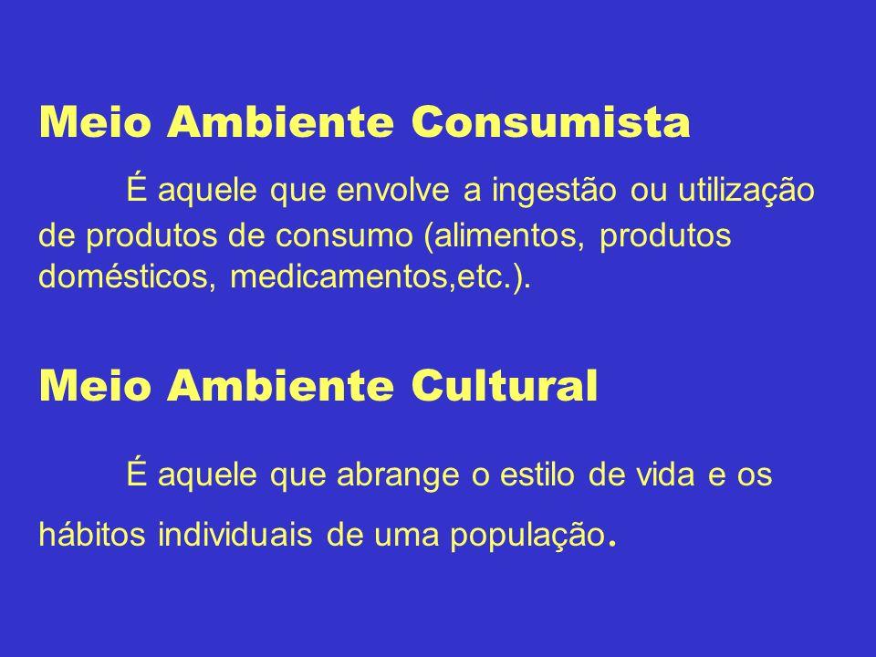 Meio Ambiente Consumista É aquele que envolve a ingestão ou utilização de produtos de consumo (alimentos, produtos domésticos, medicamentos,etc.). Mei
