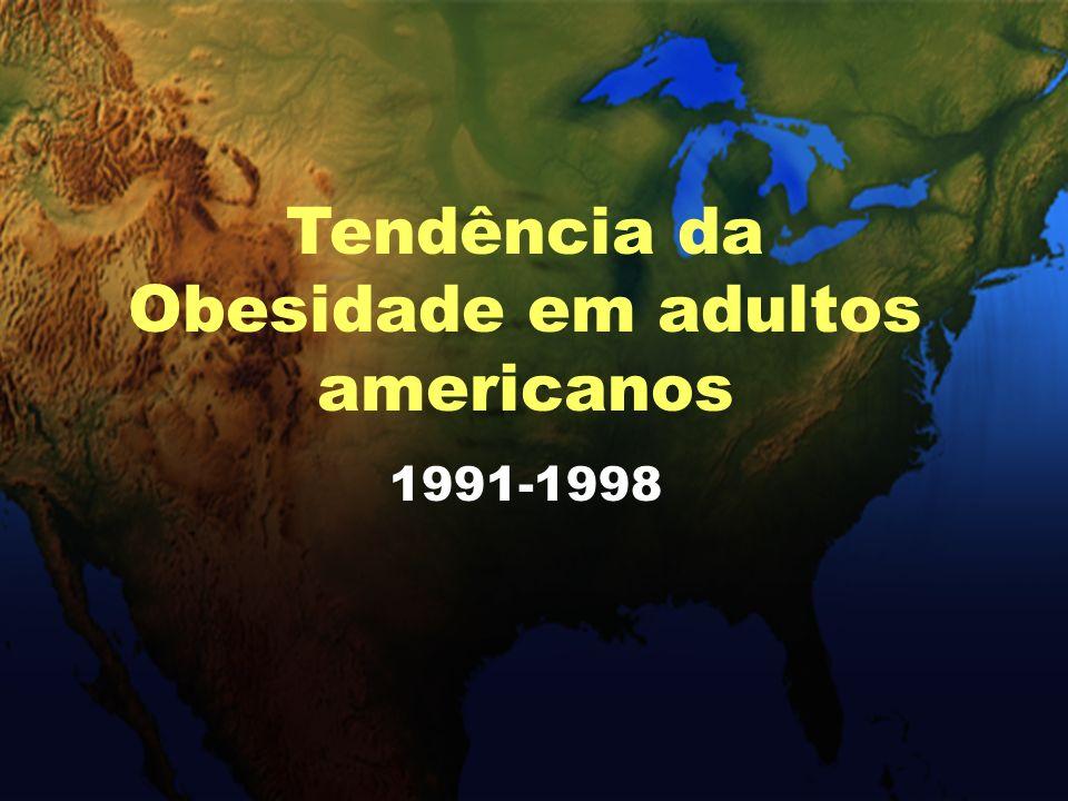 Prevalência de obesidade em americanos adultos BRFSS, 1991 Tendência da Obesidade em adultos americanos 1991-1998