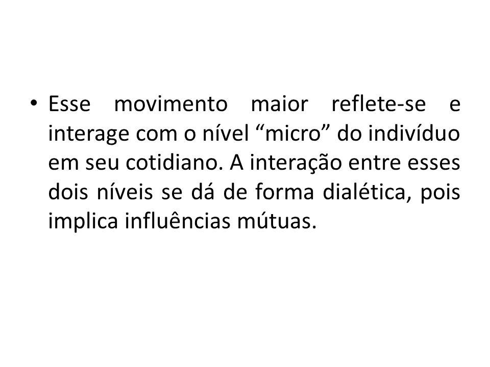 Esse movimento maior reflete-se e interage com o nível micro do indivíduo em seu cotidiano. A interação entre esses dois níveis se dá de forma dialéti