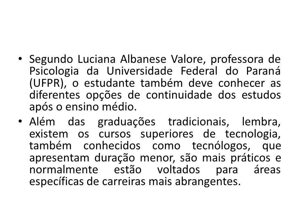 Segundo Luciana Albanese Valore, professora de Psicologia da Universidade Federal do Paraná (UFPR), o estudante também deve conhecer as diferentes opç