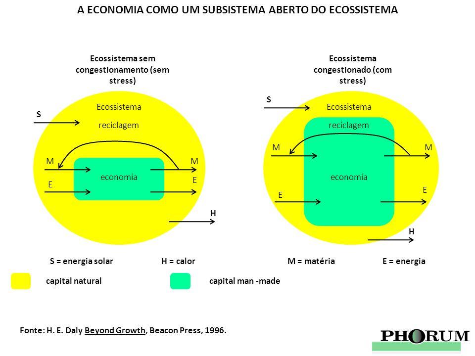 A ECONOMIA COMO UM SUBSISTEMA ABERTO DO ECOSSISTEMA economia M E M E reciclagem Ecossistema Ecossistema sem congestionamento (sem stress) S H economia