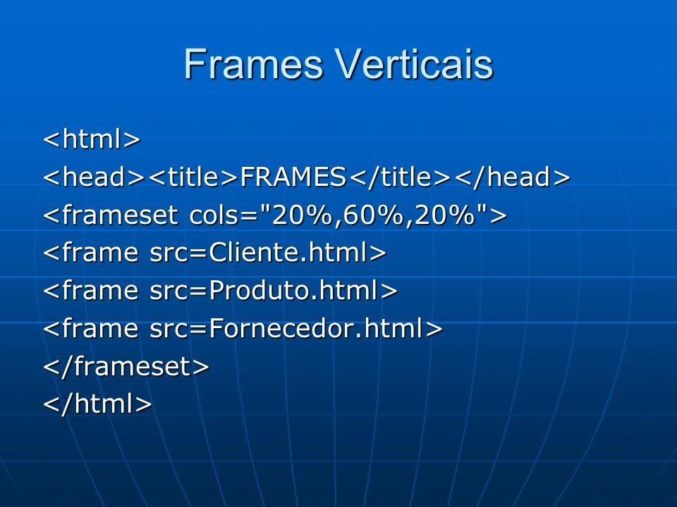 Usando Horizontal e vertical FRAMES FRAMES