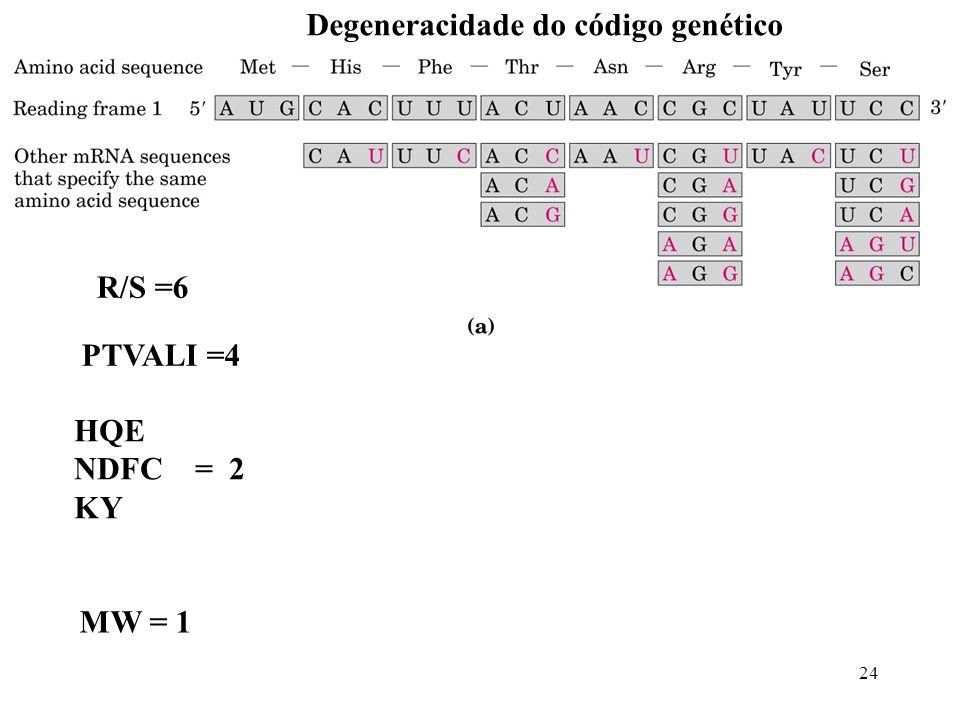 24 R/S =6 PTVALI =4 HQE NDFC = 2 KY MW = 1 Degeneracidade do código genético