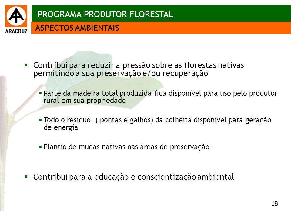 18 Aspectos econômicos Contribui para reduzir a pressão sobre as florestas nativas permitindo a sua preservação e/ou recuperação Parte da madeira tota