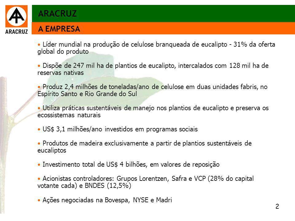 2 Aspectos econômicos A EMPRESA Líder mundial na produção de celulose branqueada de eucalipto - 31% da oferta global do produto Dispõe de 247 mil ha d