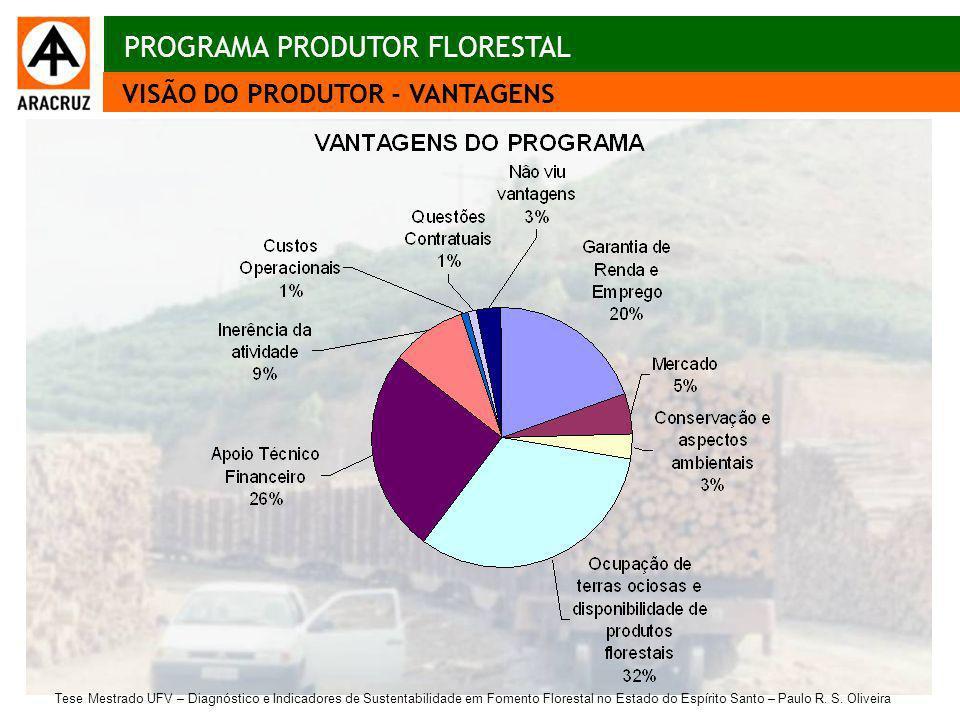 23 Aspectos econômicos VISÃO DO PRODUTOR - VANTAGENS PROGRAMA PRODUTOR FLORESTAL Tese Mestrado UFV – Diagnóstico e Indicadores de Sustentabilidade em