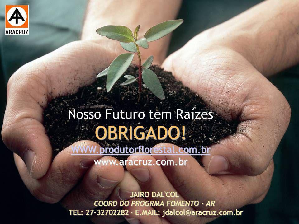 26 Aspectos econômicos JAIRO DAL'COL COORD DO PROGRMA FOMENTO - AR TEL: 27-32702282 - E.MAIL: jdalcol@aracruz.com.br Nosso Futuro tem Raízes OBRIGADO!