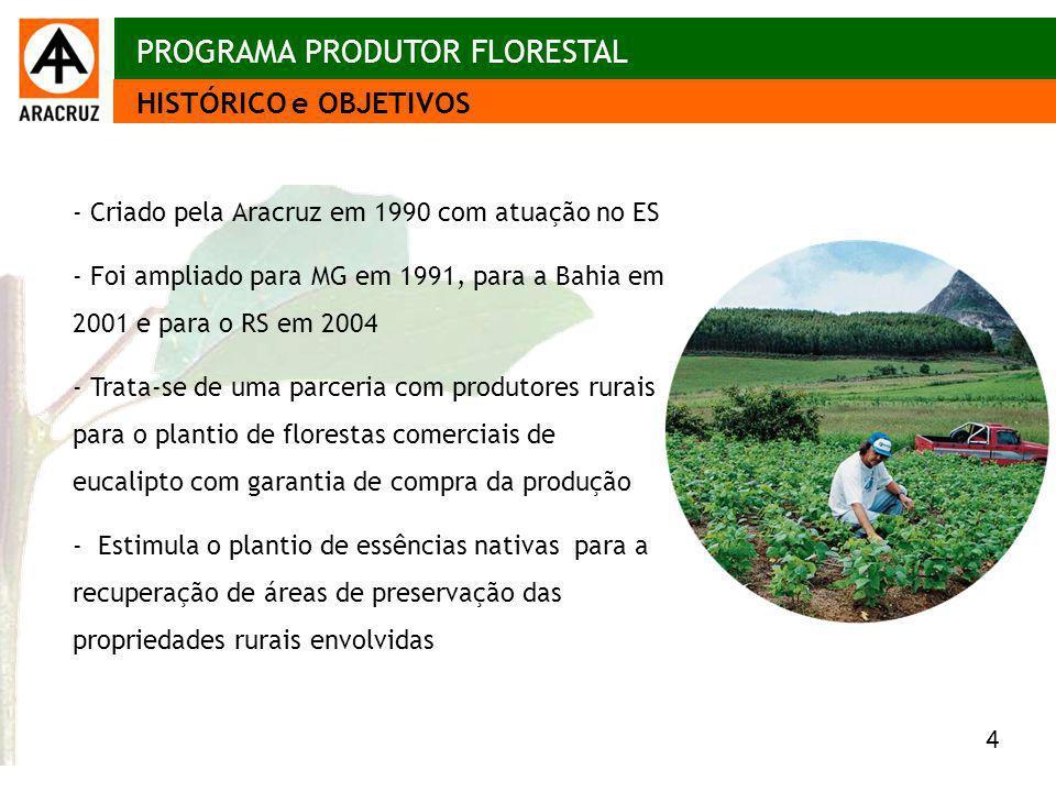 4 Aspectos econômicos PROGRAMA PRODUTOR FLORESTAL - Criado pela Aracruz em 1990 com atuação no ES - Foi ampliado para MG em 1991, para a Bahia em 2001