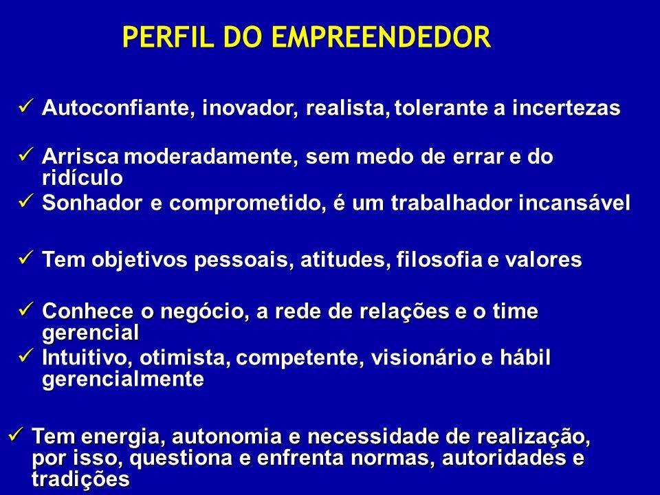 PERFIL DO EMPREENDEDOR Intuitivo, otimista, competente, visionário e hábil gerencialmente Intuitivo, otimista, competente, visionário e hábil gerencia
