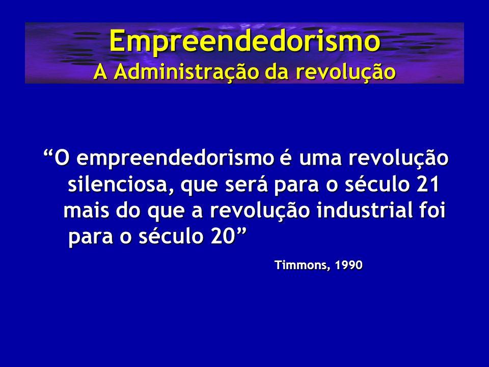 Empreendedorismo A Administração da revolução O empreendedorismo é uma revolução silenciosa, que será para o século 21 mais do que a revolução industr