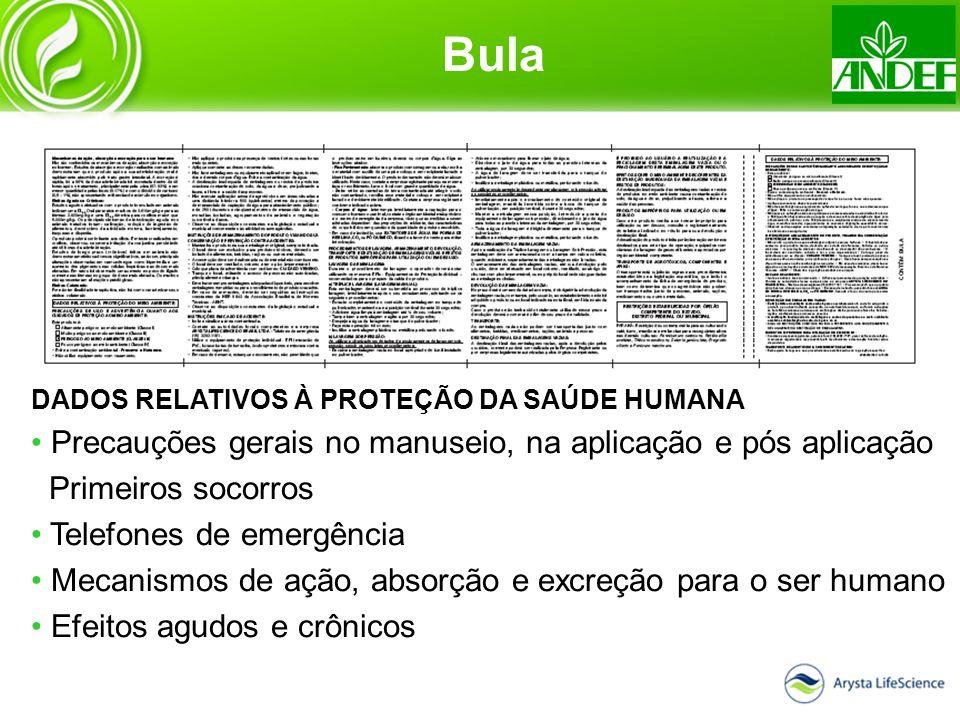 DADOS RELATIVOS À PROTEÇÃO DA SAÚDE HUMANA Precauções gerais no manuseio, na aplicação e pós aplicação Primeiros socorros Telefones de emergência Meca