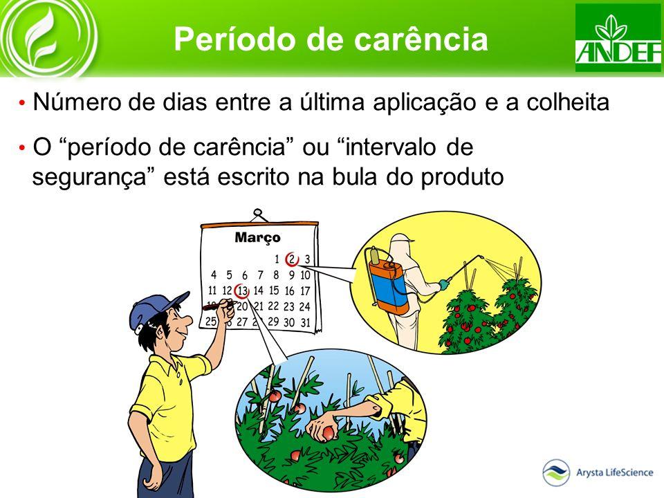 Período de carência Número de dias entre a última aplicação e a colheita O período de carência ou intervalo de segurança está escrito na bula do produ