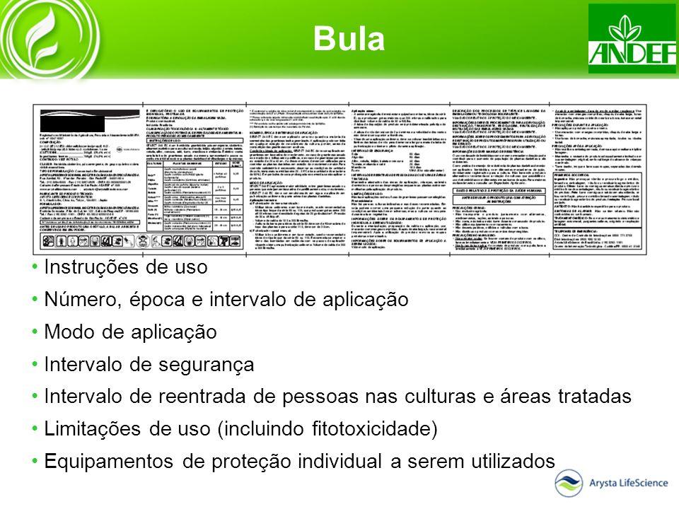 Instruções de uso Número, época e intervalo de aplicação Modo de aplicação Intervalo de segurança Intervalo de reentrada de pessoas nas culturas e áre