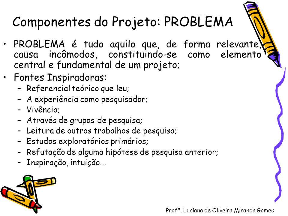 Profª. Luciana de Oliveira Miranda Gomes Componentes do Projeto: PROBLEMA PROBLEMA é tudo aquilo que, de forma relevante, causa incômodos, constituind