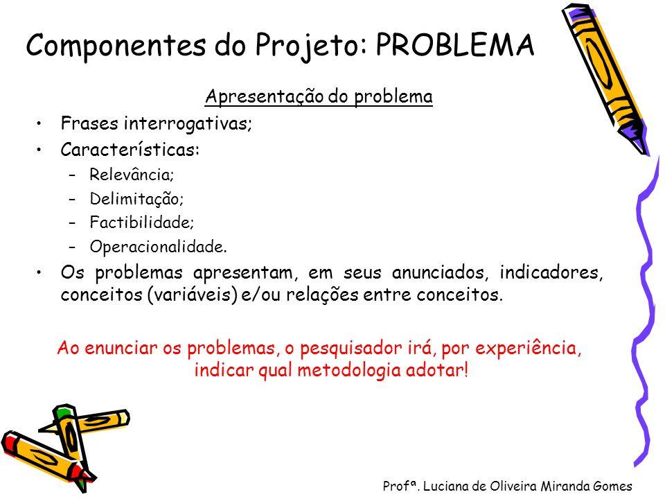 Profª. Luciana de Oliveira Miranda Gomes Componentes do Projeto: PROBLEMA Apresentação do problema Frases interrogativas; Características: –Relevância