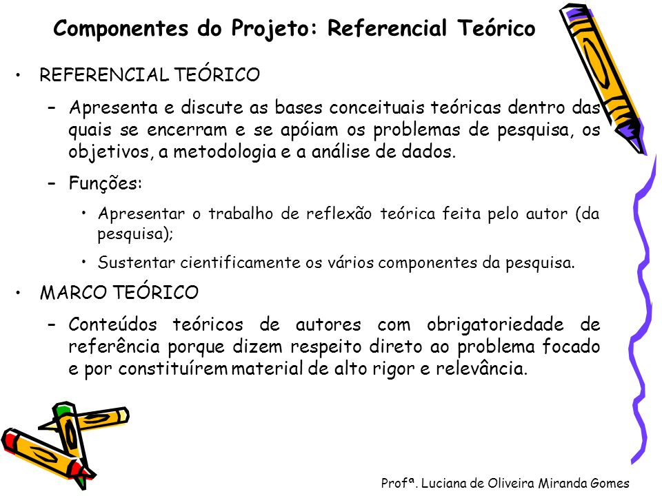 Profª. Luciana de Oliveira Miranda Gomes Componentes do Projeto: Referencial Teórico REFERENCIAL TEÓRICO –Apresenta e discute as bases conceituais teó