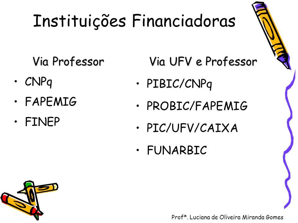 Profª. Luciana de Oliveira Miranda Gomes Instituições Financiadoras Via Professor CNPq FAPEMIG FINEP Via UFV e Professor PIBIC/CNPq PROBIC/FAPEMIG PIC