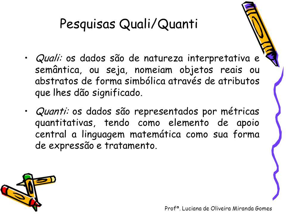 Profª. Luciana de Oliveira Miranda Gomes Pesquisas Quali/Quanti Quali: os dados são de natureza interpretativa e semântica, ou seja, nomeiam objetos r